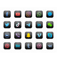 social media square black modern icons set vector image vector image