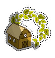 sticker organic farm with leaves plant vector image vector image