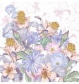 Summer background with wildflowers vector image