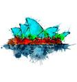 sydney opera house made of colorful splashes vector image