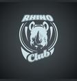 vintage retro logo with rhino vector image vector image