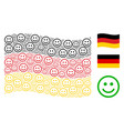 waving german flag pattern of glad smiley items vector image vector image