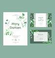 wedding invitation kit decorated with green leaves vector image