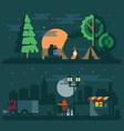 Romantic landscape with a couple in love vector image
