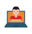shopping online man laptop delivery vector image