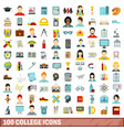 100 college icons set flat style vector image vector image