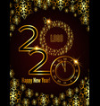 abstract golden poster 2020 happy new year vector image vector image