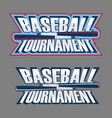 baseball tournament inscription vector image vector image