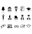 black college icons set vector image