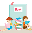 Boy And Girl Reading Book vector image vector image