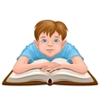 Boy reading book Child sits in front of an open vector image