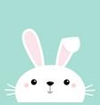 bunny rabbit face head cute cartoon kawaii funny vector image vector image