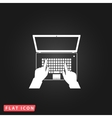 Business hands on notebook computer keyboard with vector image vector image