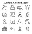 business working icon set in thin line style vector image vector image