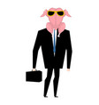 businessman in raw turkey mask raw chicken with vector image vector image