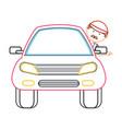 cartoon mechanic and car icon vector image vector image