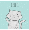Cute hand drawn doodle card with a cat that says vector image vector image