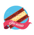 delicious brownie with ice cream vector image