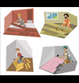 floor interior and decor making workers set vector image