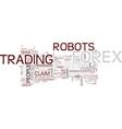 Forex robot myths text background word cloud