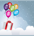 gift box flying in the clouds with balloons vector image vector image
