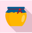 glass jar of honey icon flat style vector image vector image