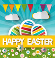 Happy Easter with Paper Cut Title - Colorful vector image