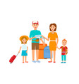 happy young family with little children travelling vector image