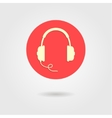 headphones icon in red circle vector image vector image