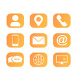 icons set for web page phone app contact us vector image vector image