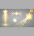 light effects a set of golden shining lights vector image