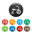 little tricycle icons set color vector image vector image