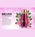 luxury perfume glass bottle ads template pink vector image vector image