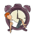 man sleeping on alarm clock vector image