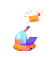 man with laptop legs crossed message vector image vector image