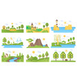 mini landscapes icons set ecology nature vector image vector image