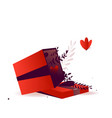 open gift box with red ribbon and flat plants with vector image