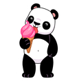 Panda with ice cream vector image vector image
