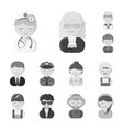 people of different professions monochrome icons vector image