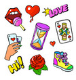 pop art style fashion stickers set vector image
