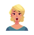 Pretty blond woman surprised facial expression vector image vector image