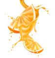 realistic orange juice splash slice vector image vector image