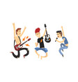 rock musicians characters set musical band vector image vector image