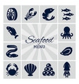 seafood menu silhouette icon vector image