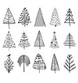 set doodle christmas trees vector image vector image