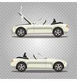 set of broken cartoon white cabriolet sport car vector image
