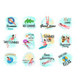 set summer fun and activities emblem design vector image