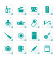 stylized kitchen objects and accessories icons vector image