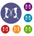 swallowtail butterfly icons set vector image vector image