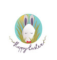 sweet easter egg rabbit in the grass and oval sky vector image vector image